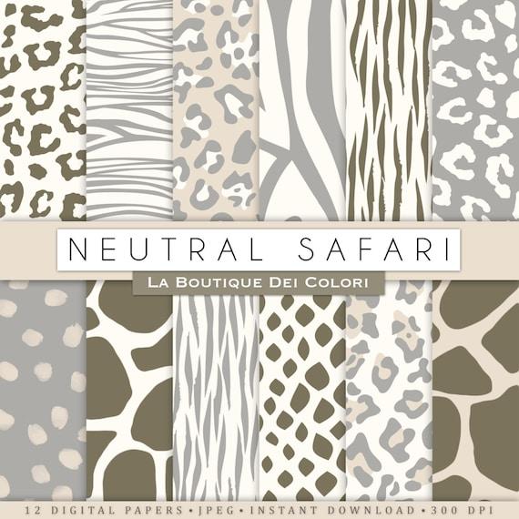 Neutral Animal Prints Digital Paper Safari Scrapbook Tiger