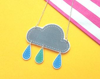 Cute Rain Cloud Necklace with Rain Drops