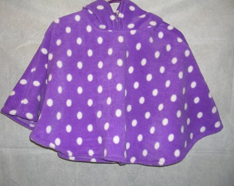 PONCHO WITH HOOD, Purple with white spot