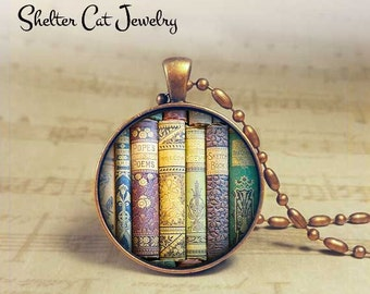 """Classic Library Book Necklace - Classics - 1-1/4"""" Book Pendant or Key Ring - Handmade Jewelry - Librarian, Teacher, Writer, Book Lover Gift"""