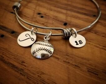 Personalized softball adjustable bangle