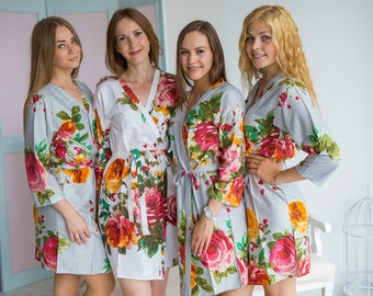 Silver Large Floral Blossom Bridesmaids robes | Kimono Robes, Spa Wraps, bridesmaids gift, getting ready robes, Bridal Party Robes