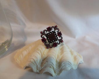 Cranberry Adjustable Ring, Size 6 to 8,  Cranberry, Adjustable, Gemstones