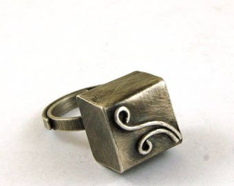 silver cube ring, oxidized silver ring