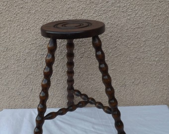 Old wood 3 feet, Brown and bronze colored oak stool