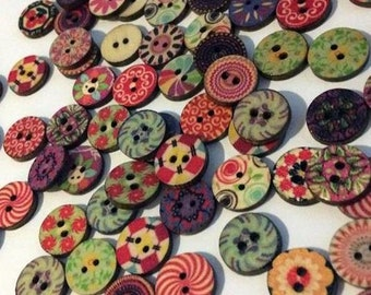 Awesome, vibrant round buttons, wood buttons, OOAK buttons, versatile buttons, sewing supply, crafting supply, jewelry supply, DIY crafting
