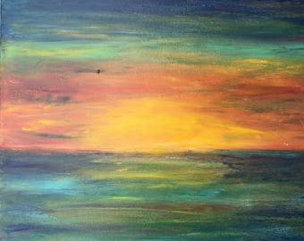 Acrylic sunset painting/ 12x12 stretched canvas