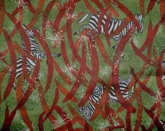 "Vintage 70s Zebra Jersey Knit Fabric Yardage 63"" x 37"""