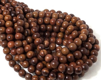 Magkuno Wood, Medium Brown, 8mm, Round, Small, Smooth, Natural Wood Beads, 16 Inch Strand - ID 1372-MD