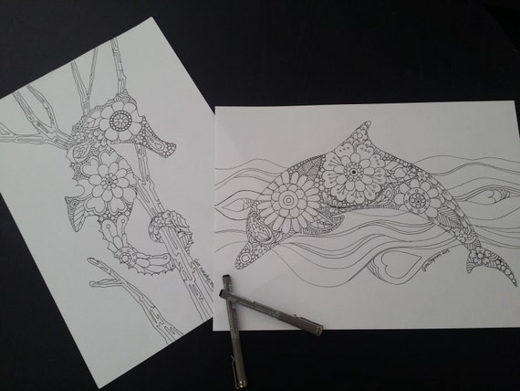 Coloring Pages For Adults Dolphins : Dolphin and seahorse ocean and sea adult colouring pages