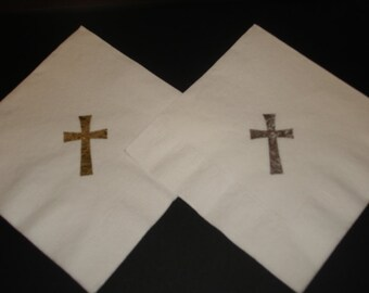 First Communion, Baptism Christening, Confirmation or Baby Shower Cross Cocktail Napkins Embossed Set of 50