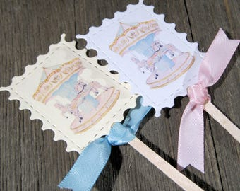 Birthday Party Cupcake Toppers - Set of 12 - Dessert Toppers - Carousel - Baby Shower - Blue - Pink - Stamp Shaped tag