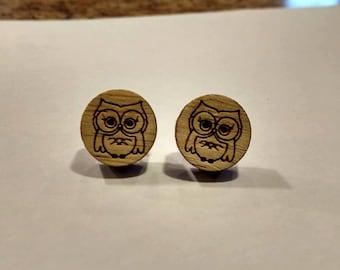 Owl wooden earrings