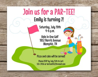 Miniature Golf Birthday Party Invitation Girls