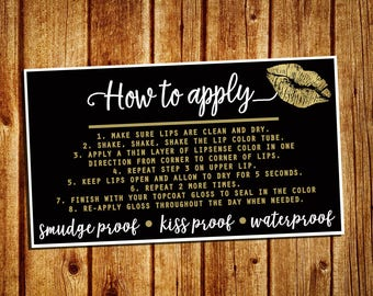LipSense How To Apply Card - SeneGence Marketing Card - Instant Download - YOU PRINT - 3.5x2