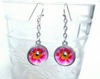 Delicate Pink Daisy Drop Earrings. Lovingly handmade in Brooklyn by Wishing Well Studio.
