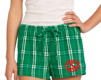 Monogrammed Plaid Flannel Boxer Pajama Short- Green Plaid Flannel Boxer PJ Shorts- Women's Monogrammed Plaid Lounge Shorts- Monogram PJ