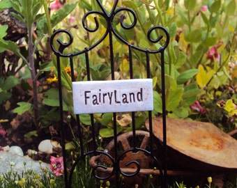 Fairy Garden Gate FairyLand Sign, Miniature Garden Gate Fence, Whimsical Fairy