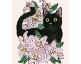 "Cat illustration - Cat print -  Wow Cat  - 4"" X 6"" print - 4 for 3 sale"