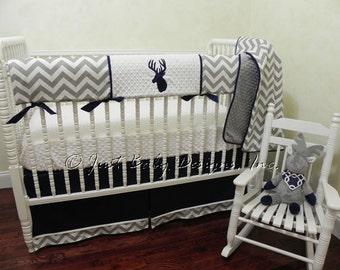 Deer Crib Bedding Set Jayden-  Boy Baby Bedding, Crib Rail Cover, Deer Baby Bedding, Navy and Gray Baby Bedding, 1-4 pieces