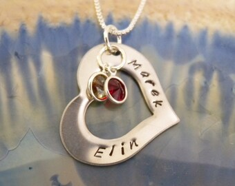Hand Stamped Name Necklace, Mommy or Grandma necklace, Personalized Necklace, Family Necklace, Birthstone and Initial Mother Necklace