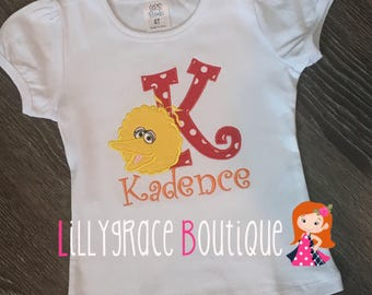 Yellow Bird Embroidered Alphabet Shirt
