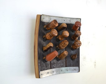 "Wine Bottle Stopper Display Made from Retired Napa Wine Barrels -POMA - ""Winemaker's Dozen"" Concave  100% Recycled!"