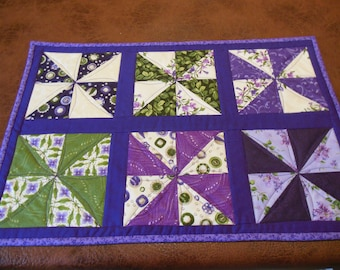 Placemats done in lilac purple and green.  Set of 4
