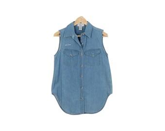 Vintage 90s Sleeveless Denim Top Size S