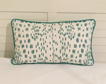 Brunschwig and Fils Les Touches Aqua Animal Print Designer Pillow Cover with Aqua Piping - Square, Lumbar and Euro Sizes
