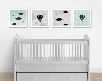 Hot Air Balloon Nursery Print Set, Baby Shower Gift, Nursery Art, Playroom Art, Baby Girl Art, Baby Boy Art, Pastel Nursery Art