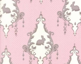 Lily and Will in Pink LILY and WILL REVISITED by Bunny Hill Designs  Moda  2800 21 pink and brown bunny damask