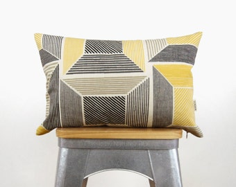 Geometric Pillow Case | Mustard Yellow, Gray, Ecru and Natural Graphic Pattern 12x18 / 12x20 Lumbar Cushion Cover | Mid Century Modern Decor