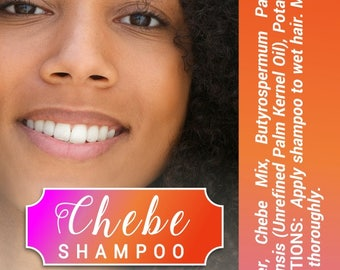 Chebe Shampoo with Water, Shea Butter, Unrefined Palm Kernel Oil, and other gentle ingredients.  No sulfates, sls, and No parabens Shampoo