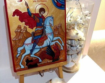 Saint George slays the Dragon - original orthodox icon, 10x8 inches - MADE TO ORDER