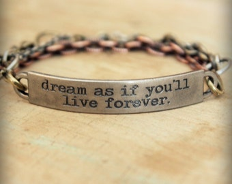 """2pc Indie Inspirational Quote Interchangeable Bracelet ... """"Dream as if you'll live forever"""""""