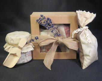 Handcrafted Lavender Gift Box -  2 products 8oz Jar of Epsom, Dead Sea & Hymalayan Pink Lavender Bath Salts 7X3 Lavender Sachet