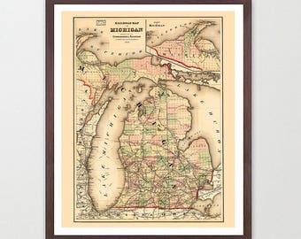 Michigan Map - Michigan Map Art - Map Decor - Ann Arbor Map - Michigan Art - Great Lakes Map Art - Michigan Wall Art - St Paul - Ann Arbor