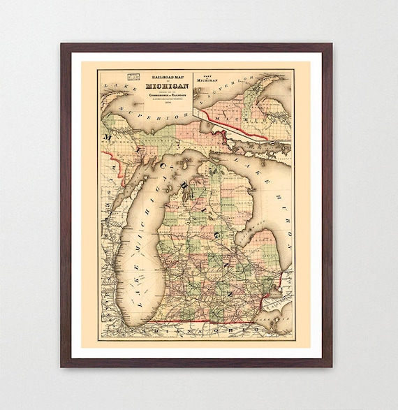 Michigan Map - Michigan Map Art - Map Decor - Ann Arbor Map - Michigan Art - Great Lakes Map Art - Michigan Wall Art - St Paul - Ann Arbor