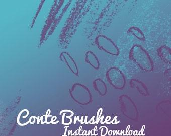 Photoshop brushes Conte Texture 10 brushes clip art brush printable digital scrapbook instant download digital art brush