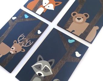 Woodland Nursery Art - Fox Nursery Decor - Woodland Animals - Animal Nursery Wall Art - Deer Painting - Forest Creatures - Hunting Nursery