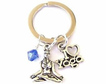 Custom yoga keychain, personalized birthstone crystal, yoga lover keyring, inspirational gift, meditation present, exercise key holder, fob