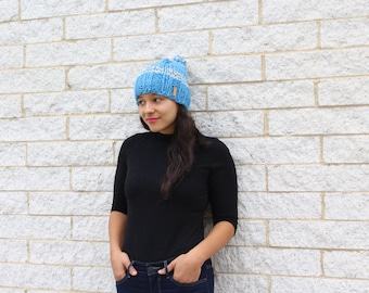 Womens winter hat, Knit slouchy hat - Knit hat with pom pom - The Iona, Winter accessories, Gift for her