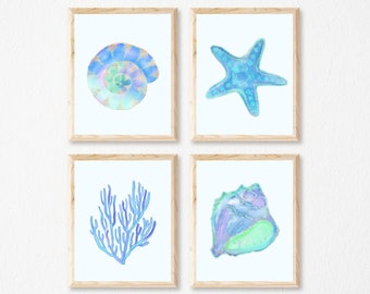 Bathroom Wall Art Set of 4 Prints Blue Nautical Wall Art, Blue Bathroom Art Set of 4, Seashell Print Sets of 4, Blue Shell Prints, UNFRAMED