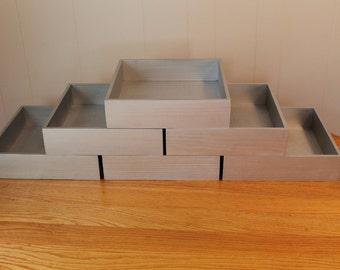 "Wooden Silver Box Wedding Centerpiece Flower Planter Storage Organizer Home Decor (6 - 12""x 12""x 3"" Boxes. Painted Silver)"