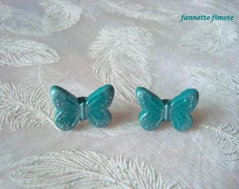Fimo Butterfly emerald green stainless steel stud earrings - handmade