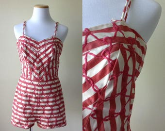 Red embroidered swimsuit   vintage 1950s swimsuit   50s bathing suit playsuit