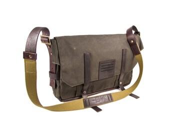 Olive men's city messenger bag of waxed canvas, brown leather/ Waxed bag / Urban bag / Mens bag / City messenger bag /Olive bag/Gift for him