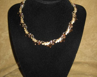 Rhinestone Choker Necklace with Leaves 50s 60s Vintage