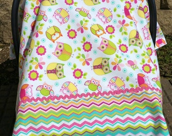 Car Seat Canopy for Baby Girl. Owl and Floral Print.  Chevron. Bright Colors.